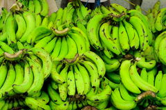 Fresh green bananas for sale Royalty Free Stock Photo