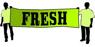 FRESH on a green banner carried by two men. Illustration graphic Stock Photo