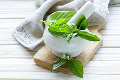 Fresh green basil leaves in a mortar Royalty Free Stock Images