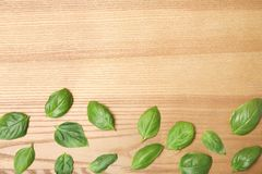 Fresh green basil leaves and space for text. On wooden background, top view stock photo