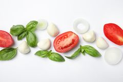 Fresh green basil leaves, tomatoes and mozzarella on white background. Top view royalty free stock photography