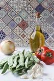 Fresh green bean meal ingredients, Turkish traditional food stock photo