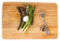 Green beans and quail egg flat lay. Fresh Green beans and boiled quail egg on wooden board flat lay, healthy food concept for lifestyle blog Royalty Free Stock Photography