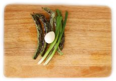 Green beans and quail egg flat lay. Fresh Green beans and boiled quail egg on wooden board flat lay, healthy food concept for lifestyle blog Royalty Free Stock Images