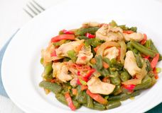 Fresh Green Beans Cooked with chicken and vegetables Stock Photos