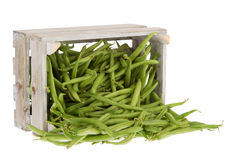 Fresh green beans in a crate Stock Photo