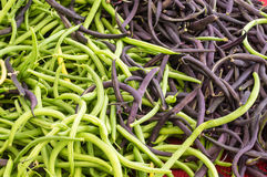 Fresh green beans on display Royalty Free Stock Images