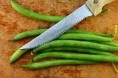 Fresh Green Beans with Knife Stock Images