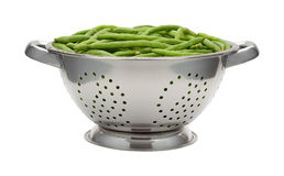 Fresh Green Beans in a Stainless Steel Colander Stock Photography