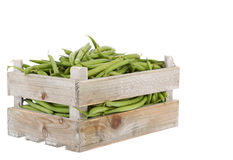 Fresh green beans in a wooden crate Royalty Free Stock Photo