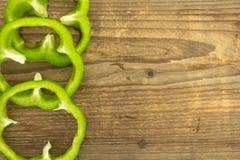 Fresh green bell pepper rings Stock Images