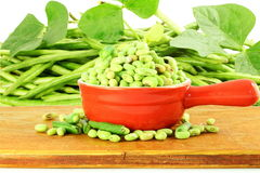 Fresh green  Black eye peas beans with plant in and out of the shell Stock Photos