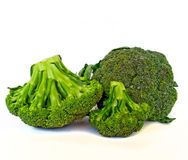Fresh Green Broccoli. A macro shot fresh green broccoli on white background Royalty Free Stock Images