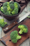 Fresh green broccoli. Bunch of fresh green broccoli in brown bowl over wooden background Stock Photography