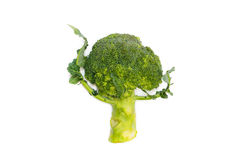 Fresh green broccoli dancing isolated on white background Stock Photo