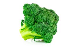 Fresh green broccoli isolated on white background.  Stock Photos