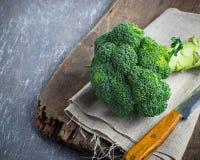 Fresh green broccoli on a linen napkin Stock Photo