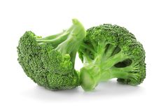 Fresh green broccoli on white background. Organic food Royalty Free Stock Photography