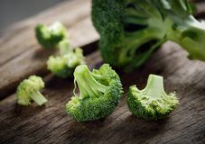 Fresh green broccoli. On wooden background Royalty Free Stock Photo
