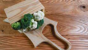 Fresh green broccoli in a wooden box, rustic background - healthy or vegetarian food concept Top view, place for text royalty free stock images