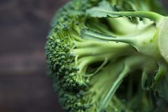 Fresh broccoli on the wooden table Stock Photo