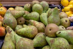Fresh green-brown pears for sale at at Wroclaw Market Hall royalty free stock photography