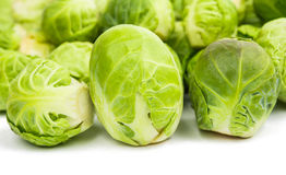 Fresh green Brussel Sprouts. Background or texture of fresh green Brussel Sprouts Stock Photography