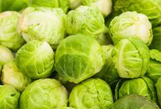 Fresh green Brussel Sprouts. Background or texture of fresh green Brussel Sprouts Stock Photo