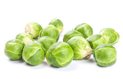 Fresh green Brussels sprouts. On white background Royalty Free Stock Photography