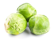 Fresh green Brussels sprouts. On white background Royalty Free Stock Image