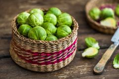 Fresh Green Brussels Sprouts. Many Fresh Green Brussels Sprouts in a Basket Royalty Free Stock Photo