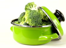 Fresh green cabbage broccoli. In the pan Royalty Free Stock Photo