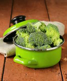 Fresh green cabbage broccoli. In the pan Stock Photo