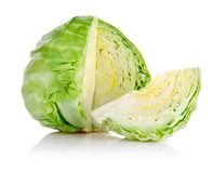 Fresh green cabbage with cut Royalty Free Stock Images