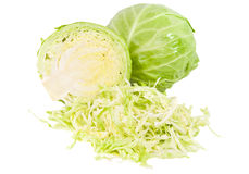 Fresh green cabbage with cut isolated Stock Images