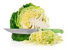 Fresh green cabbage with cut and knife Stock Photos