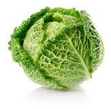 Fresh green cabbage fruit isolated on white Royalty Free Stock Photo