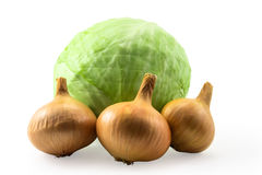 Fresh green cabbage and gold onion isolated on white Royalty Free Stock Images