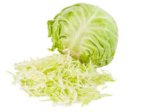 Fresh Green Cabbage With Cut Isolated Stock Photo