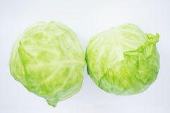 Fresh green cabbages Stock Photos