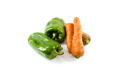 Fresh Green Capsicum with Carrot Royalty Free Stock Photo