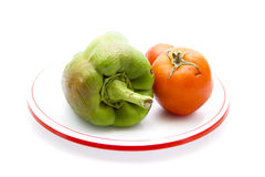 Fresh Green Capsicum with Red Tomatoes Royalty Free Stock Photo