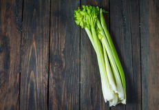 Fresh green celery vegetable on wood. Top view. Organic background.  Stock Photography
