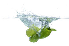 Fresh green chili paprika splash water Royalty Free Stock Photography