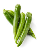 Fresh green chili peppers Royalty Free Stock Photos