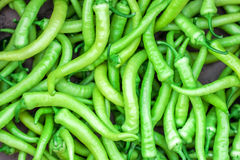 Fresh green chilli peppers Stock Photo