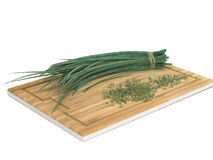 Fresh Green Chives on Top of Wooden Board Royalty Free Stock Photography