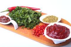 Fresh green cilantro, coriander leaves, tomato paste, chili pepper and spices on a wooden board. Ingredients for meat Stock Image
