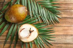 Fresh green coconuts and palm leaves. On wooden table Stock Photos