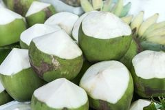 Fresh green coconuts sold in the market street. Coconut consisting of a hard shell lined with edible white flesh and containing a clear liquid Royalty Free Stock Photography